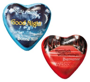 Schokoladenherz mit Standardaufdruck oder mit individuellem Aufdruck,Werbeartikel, Werbe-Schoko-Herz