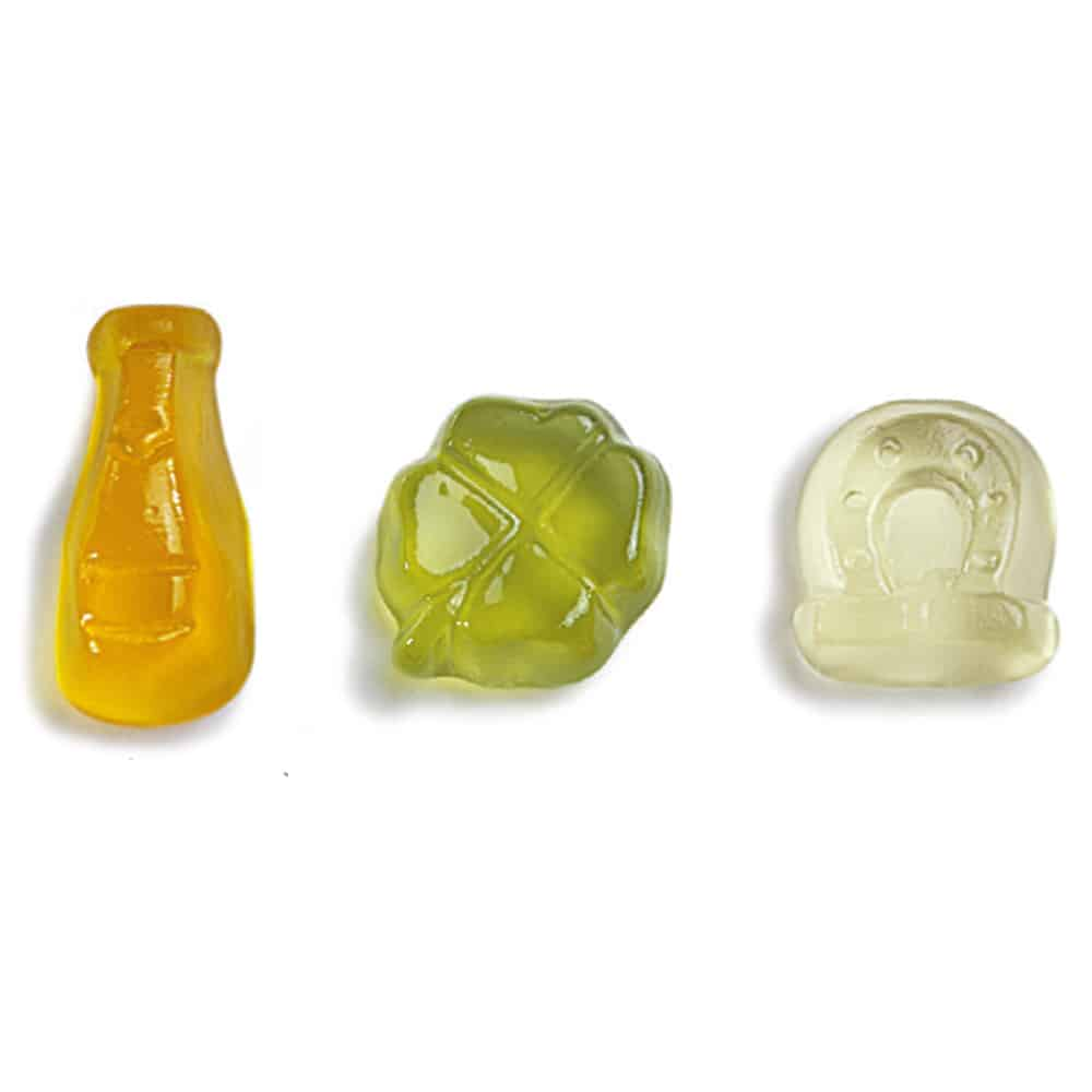Werbe-Fruchtgummi Tütchen in Silvesterformen Kleeblatt Sektflasche Hufeisen