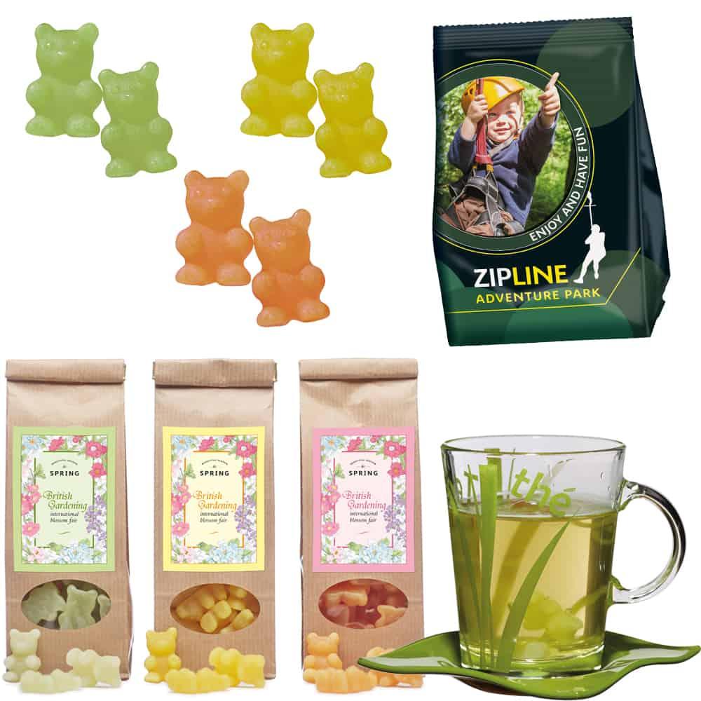 Werbe-Fruchtgummi Tee-Bären® im Standbeutel mit individuellen Aufdruck wahlweise im Folienbeutel oder im Papier-Blockbodenbeutel