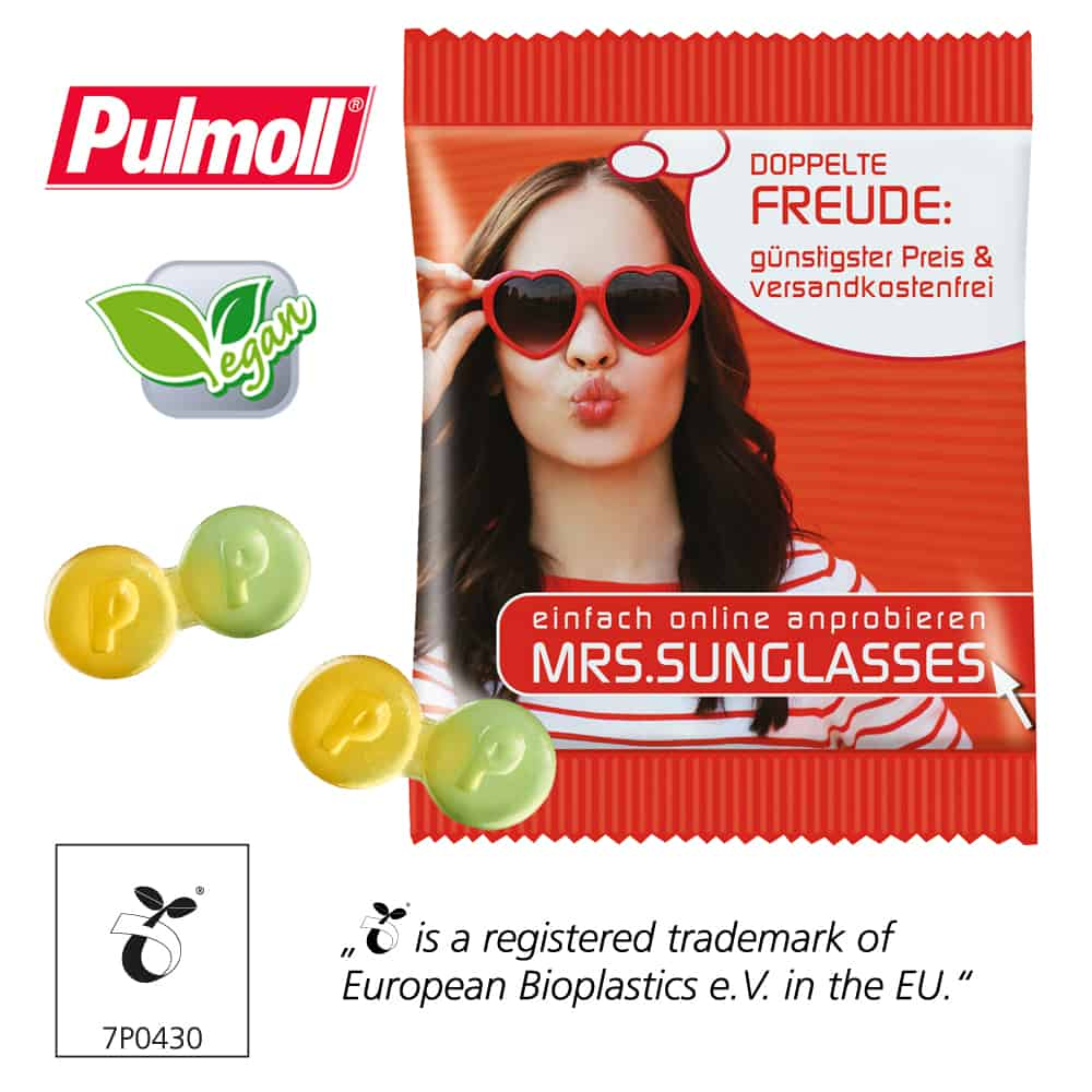 Werbe-Fruchtgummi vegane Pulmoll Duo-Gummipastillen im bedruckbaren Werbetütchen als Werbeartikel
