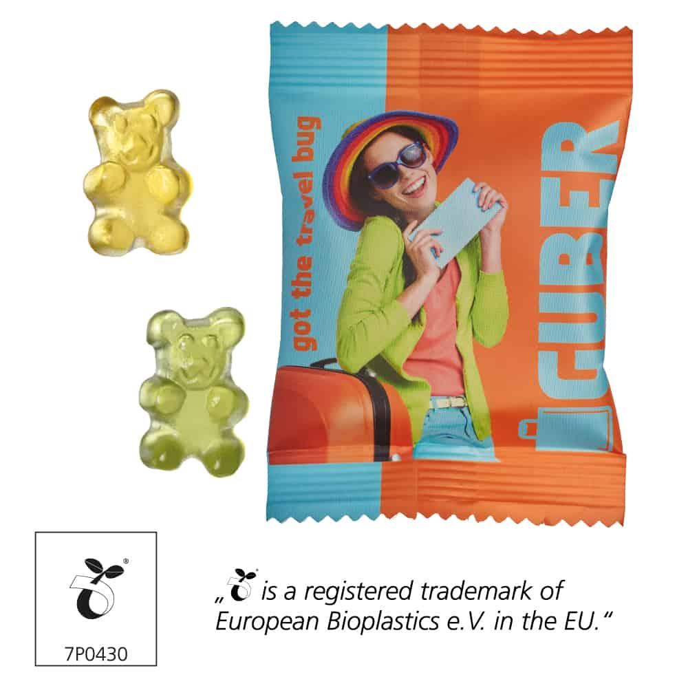 zuckerfreie Fruchtgummi Bärchen als Werbeartikel im bedruckten Werbetütchen