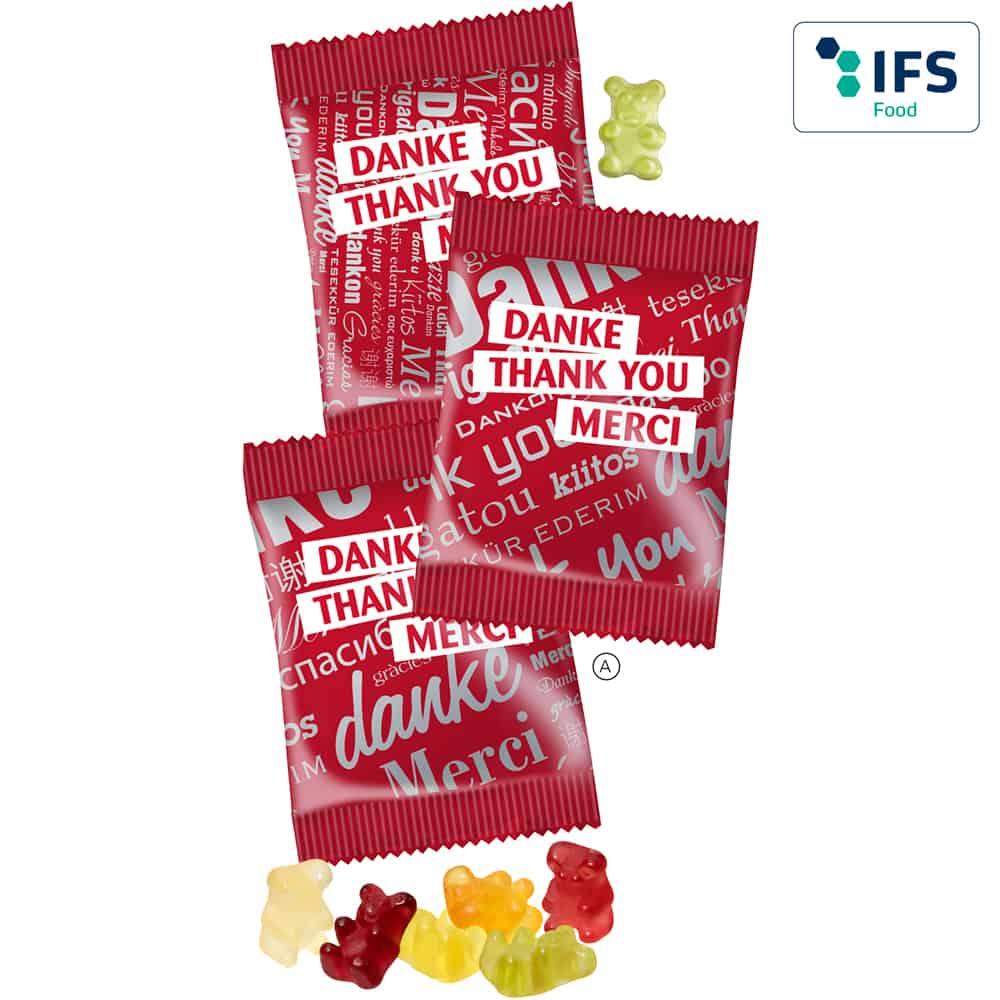 Fruchtgummi Standardverpackung Danke - Thank You - Merci