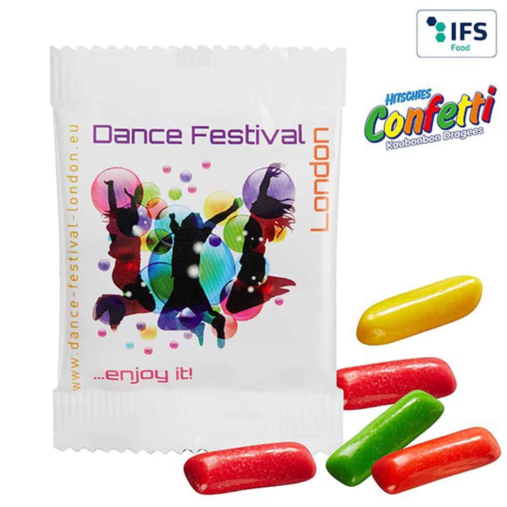Hitschies Confetti Kaubonbons im bedruckten Werbetütchen verpackt