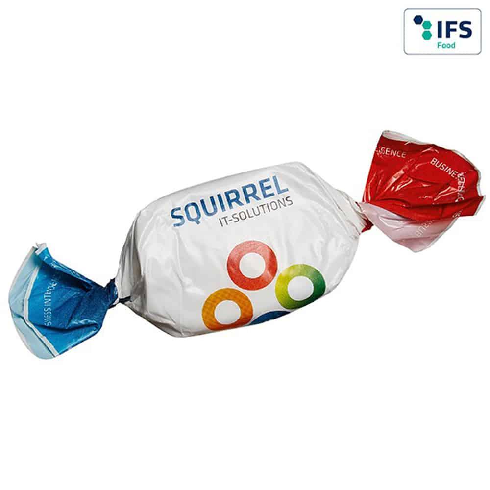 Kaubonbons als Werbebonbons im Werbewickel einzeln verpackt