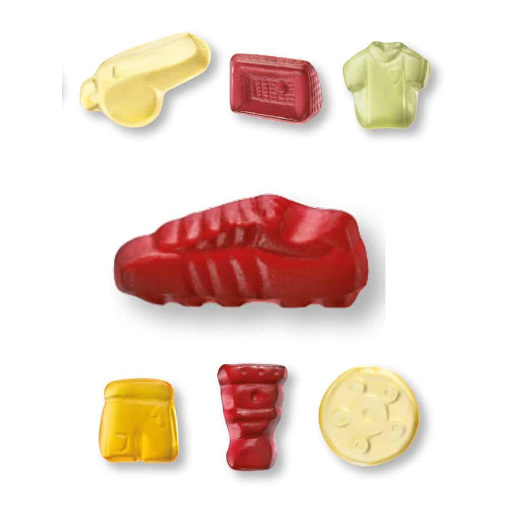 Fruchtgummi in Form Fußballfieber Fußballschuh Trikot Tor Pfeife Pokal Schale imWerbetütchen mit Kundenlogo bedrucken lassen