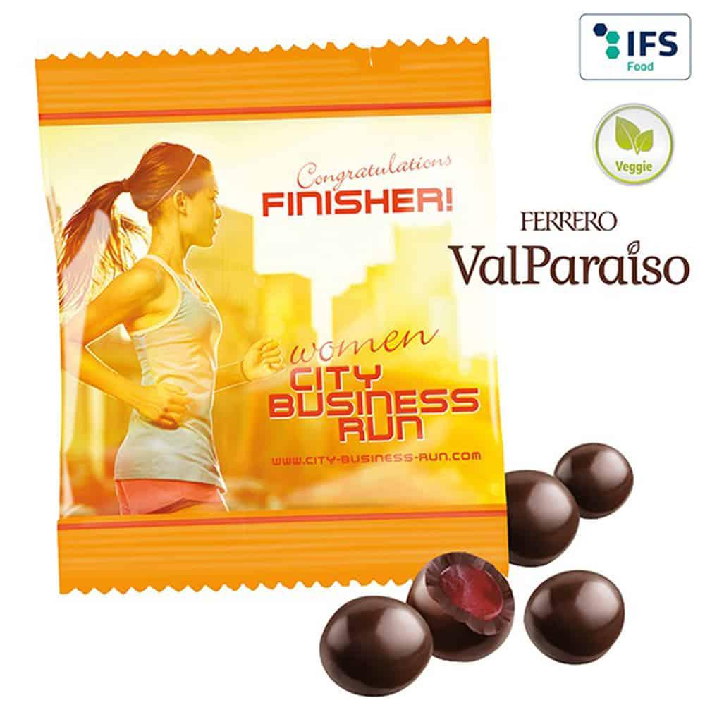 Ferrero-ValParaiso im bedruckbaren Werbetütchen, Schoko-Frucht-Perlen, Werbe-Schkolade, Werbegeschenk aus Schokolade, Werbeartikel, Werbemittel, give-away