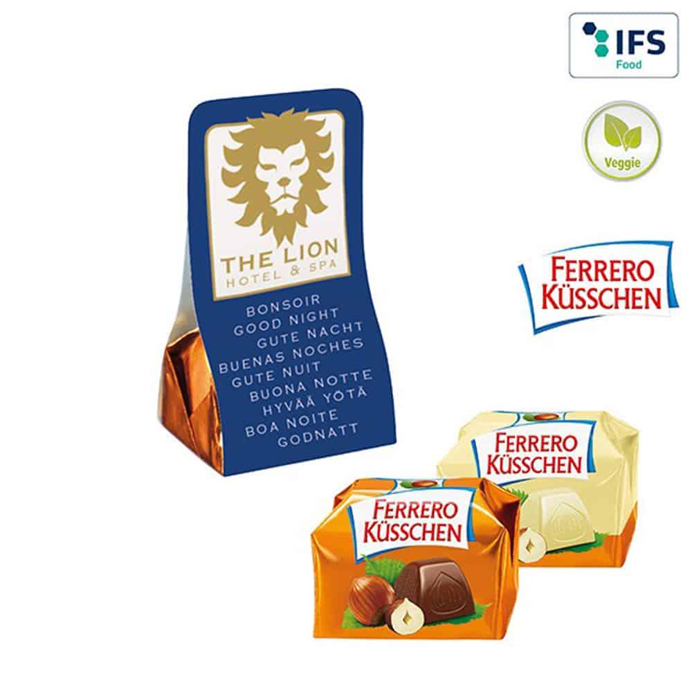 Ferrero-kuesschen, Werbe-Schkolade. Blisterverpackung, Werbegeschenk aus Schokolade, Werbeartikel, Werbemittel, give-away, veggie