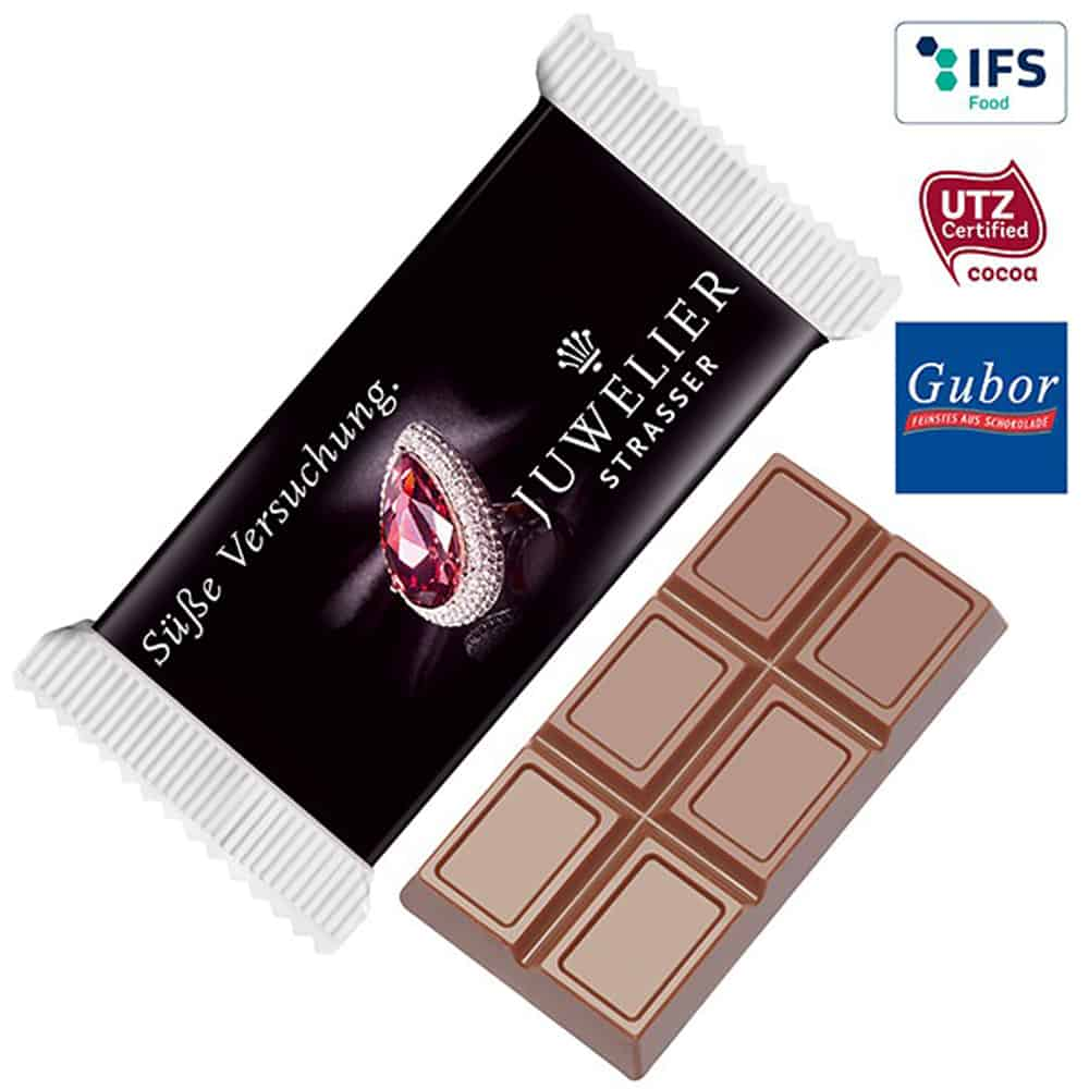 Maxi-Schokoladentafel im Werbepack, Werbe-Schokolade, Werbegeschenk aus Schokolade, Schokolade im Werbetuetchen, Werbeartikel, Werbemittel, give-away, Schokoladentafel Maxi