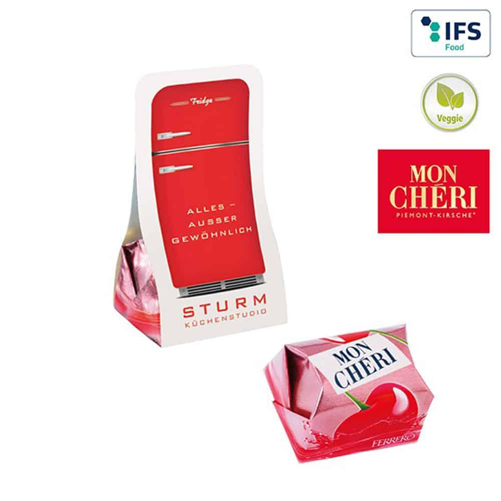 Mon-Cheri, Piemont-Kirsche, Werbe-Schkolade, Blisterverpackung, Werbe-Schokolade, Werbegeschenk aus Schokolade, Werbeartikel, Werbemittel, give-away