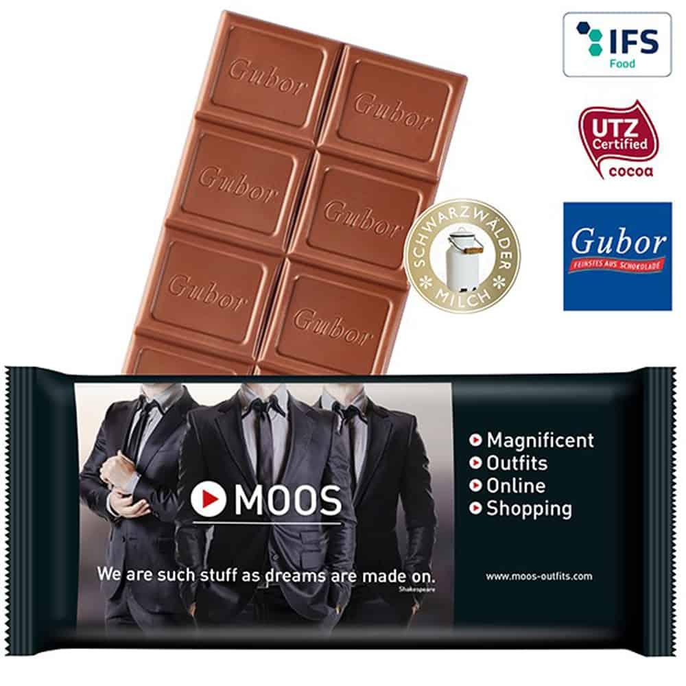 Premium-Schokoladentafel im Werbepapier. Werbe-Schokolade_Werbegeschenk-aus-Schokolade_Schokolade im Werbe-Flowpack, Werbeartikel, Werbemittel, give-away