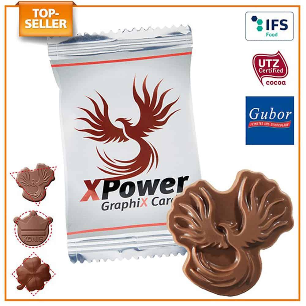 Schokolade in Sonderform, Logo-schokolade im Werbetuetchen, Werbegeschenk aus Schokolade, Schokolade im werbetuetchen, werbeartikel, werbemittel, give-away