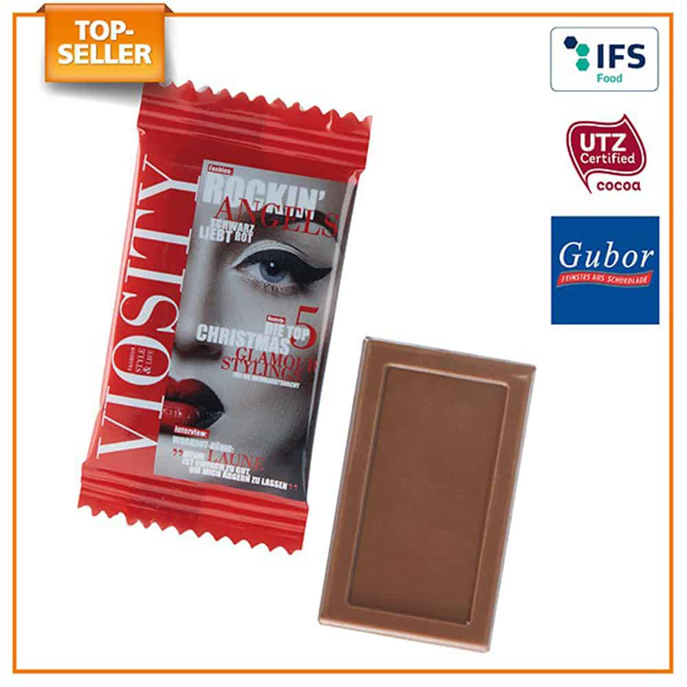 Werbe-Schokolade, Werbegeschenk aus Schokolade, Schokolade im Werbetuetchen, Werbeartikel, Werbemittel, give-away, Schokoladentafel Midi