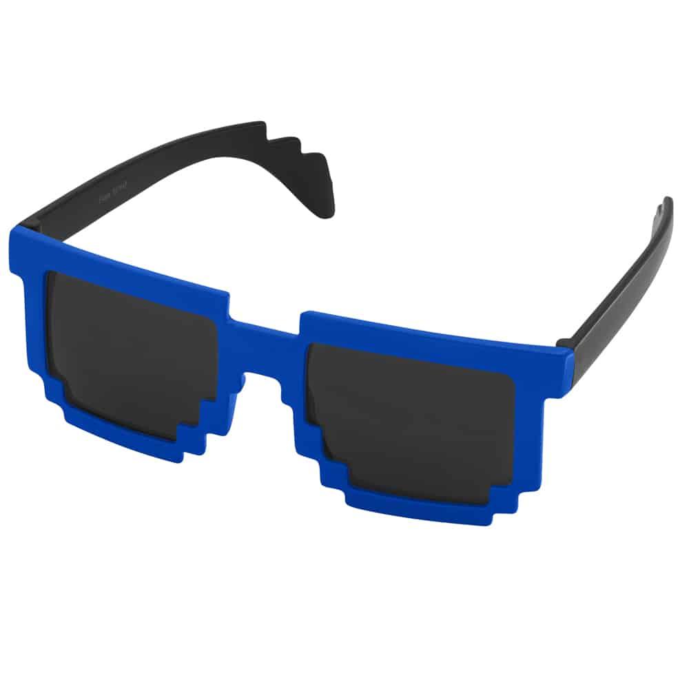 Werbe-Sonnenbrille, Sunpixel, Sonnenbrille im Pixelstyle, blau-schwarz, Werbeartikel