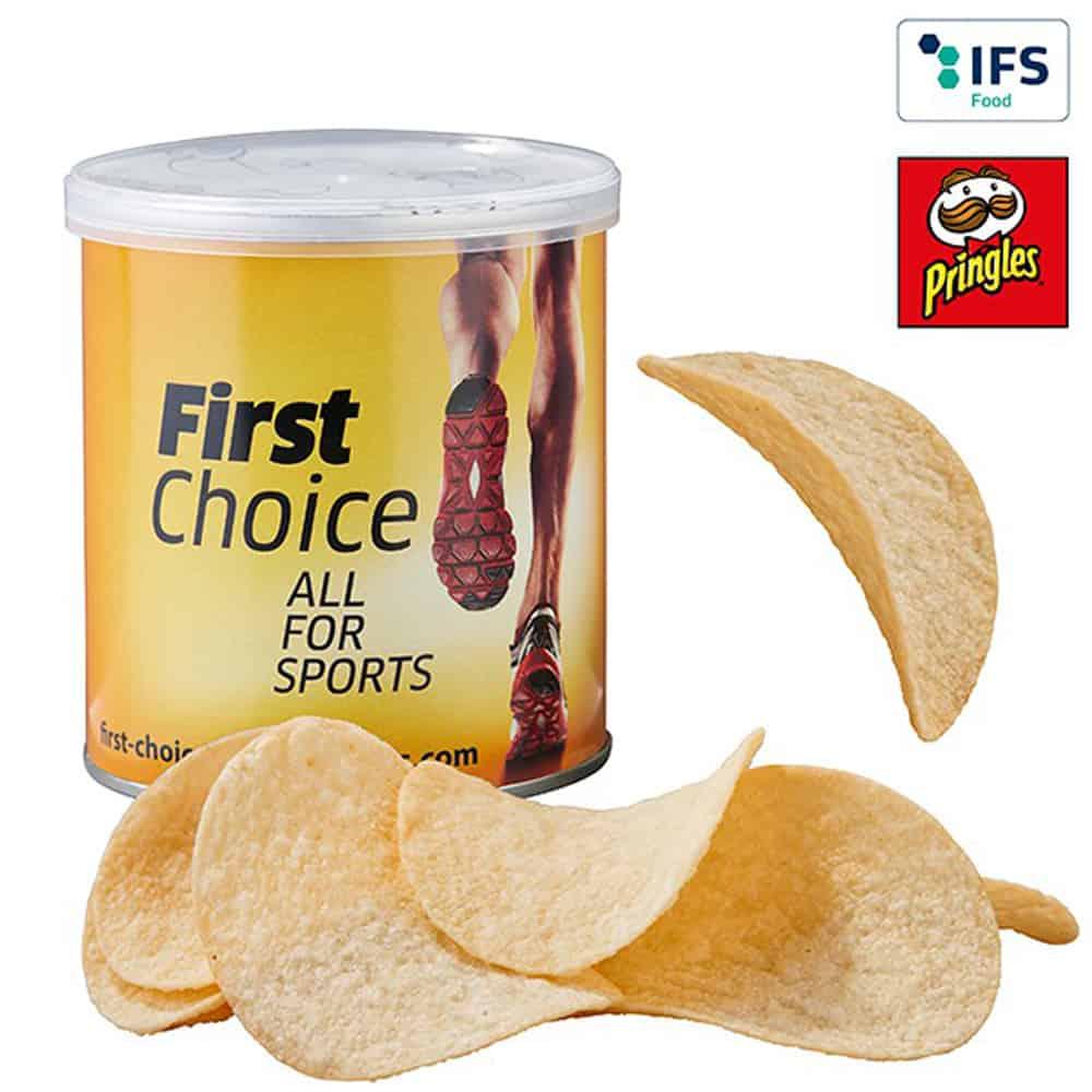 Werbeknabbereien, Werbesnacks, Mini-Pringles-Box mit Werbebanderole, Werbeartikel, Werbemittel