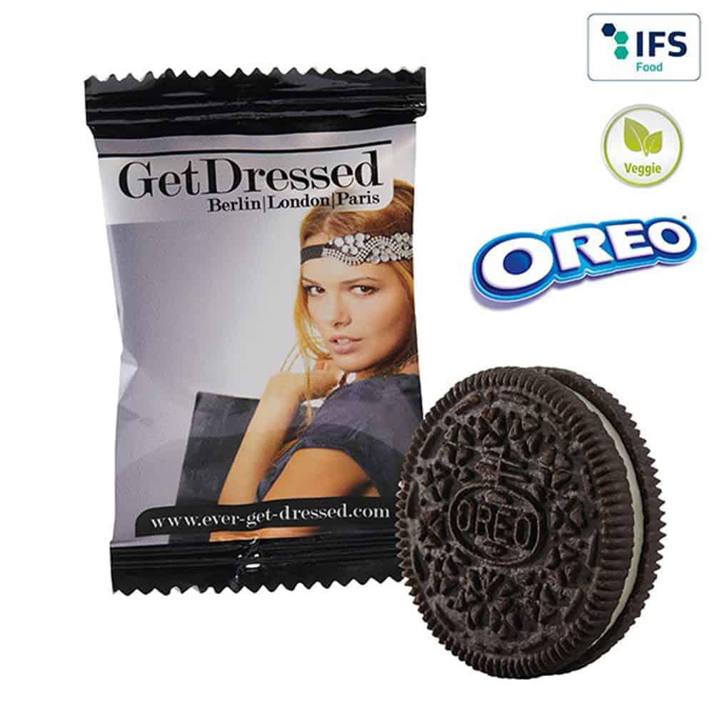 Werbeknabbereien, Werbesnacks, Oreo-Kecks im bedruckten Flowpack, Werbeartikel, Werbemittel