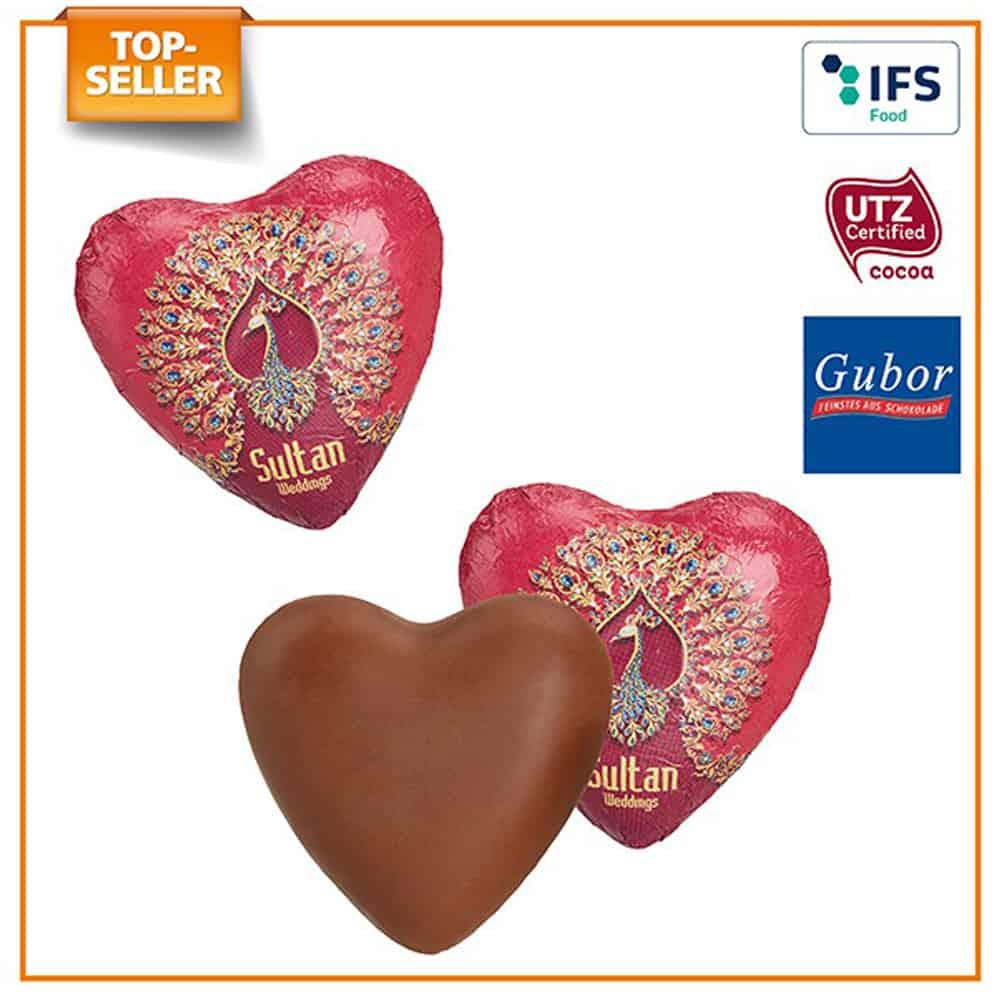 Werbeschokolade. schokoladenherzen im werbewickel. Werbeartikel. werbemittel, suesse werbung, give-away
