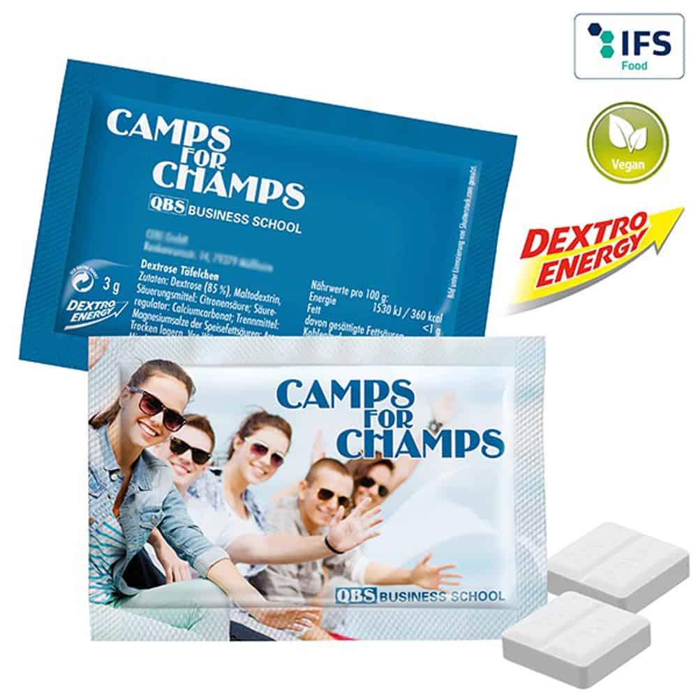 duo-pack dextro-energy traubenzucker im Werbetuetchen, werbeartikel