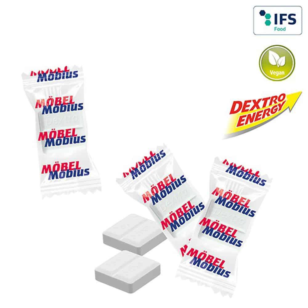 mini-dextro-energy traubenzucker im flowpack, werbetuetchen, werbeartikel