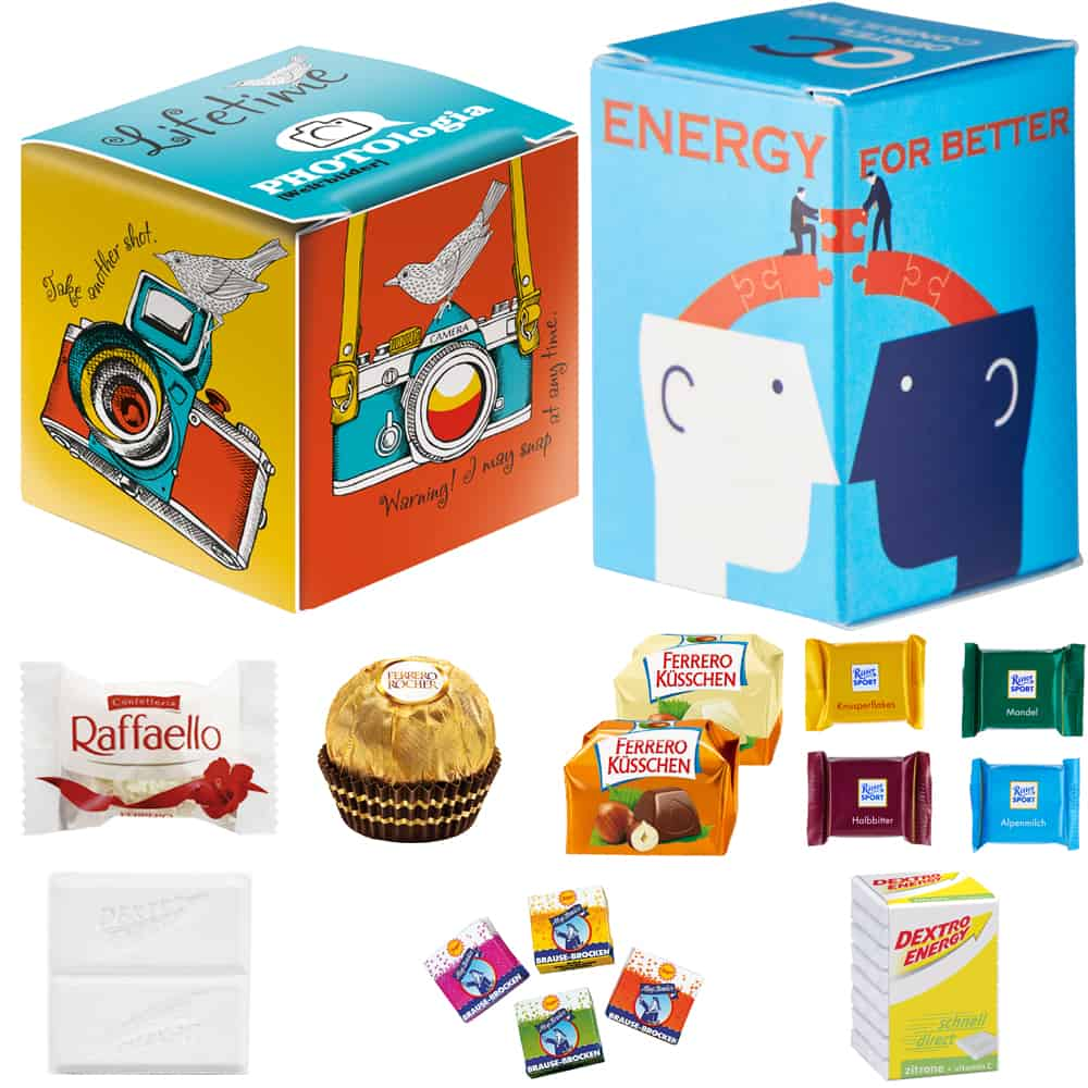 Mini Promo-Würfel, Mini Promo-Tower, Werbegeschenk, Schokolade, Traubenzucker